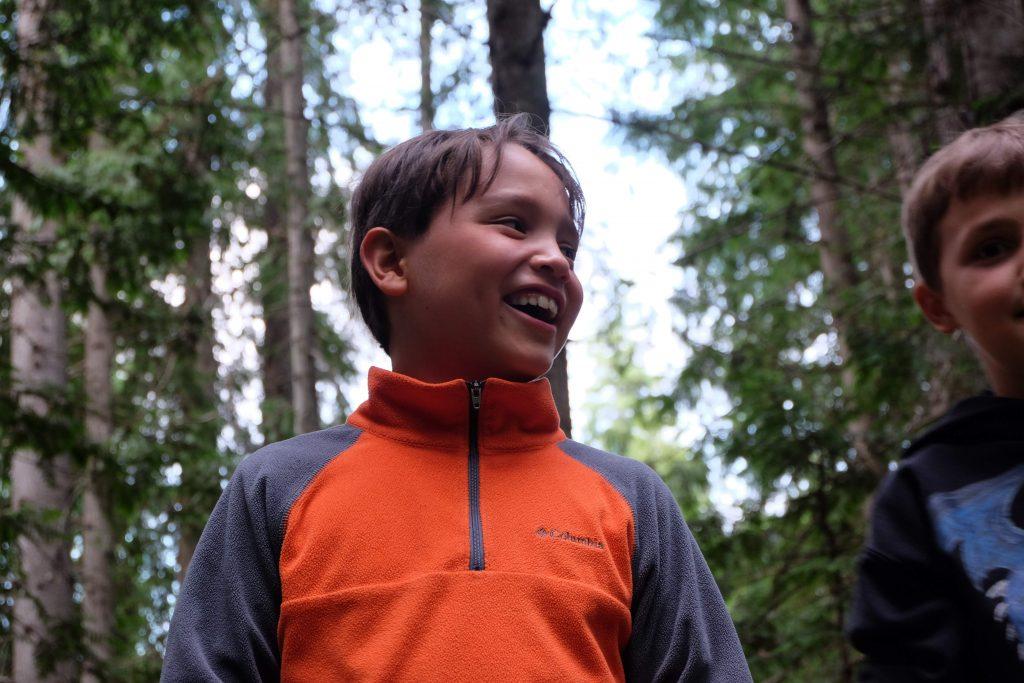 a camper smiling
