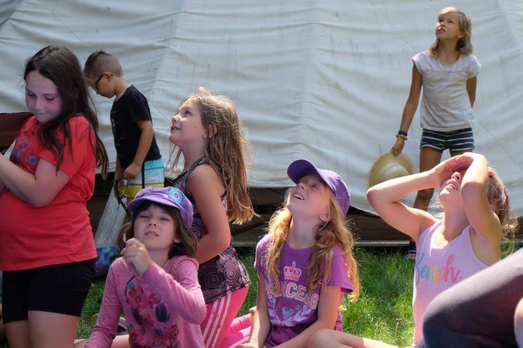 Campers watching our science week egg drop